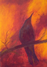 <h5>Crow Sings In The World</h5><p>Acrylic on Board 34cm x 23cm</p>