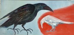 <h5>Pecking Order</h5><p>Acrylic on Board 57cm x 123cm</p>